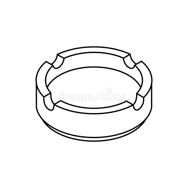 Stile isometrico del portacenere isolato Accessorio del fumatore royalty illustrazione gratis