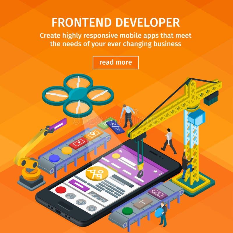 Stile isometrico piano di sviluppo 3d di applicazioni mobili gru 3d e braccio robot La gente che lavora alla partenza Web design  illustrazione vettoriale