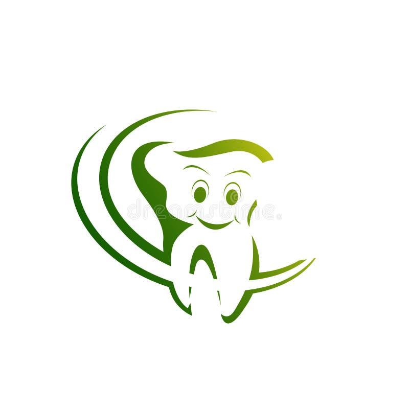 Stile lineare del modello di vettore di progettazione di logo dell'ammaccatura di salute Cli dentario illustrazione vettoriale