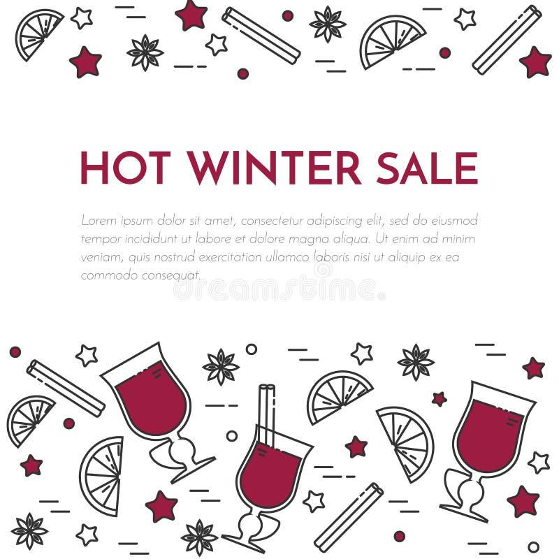 Stile lineare dell'insegna del vin brulé di vendite di inverno illustrazione di stock