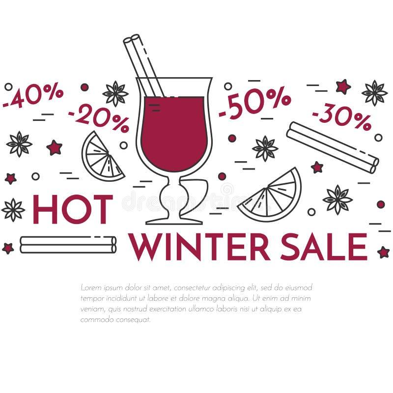 Stile lineare dell'insegna del vin brulé di vendite di inverno royalty illustrazione gratis