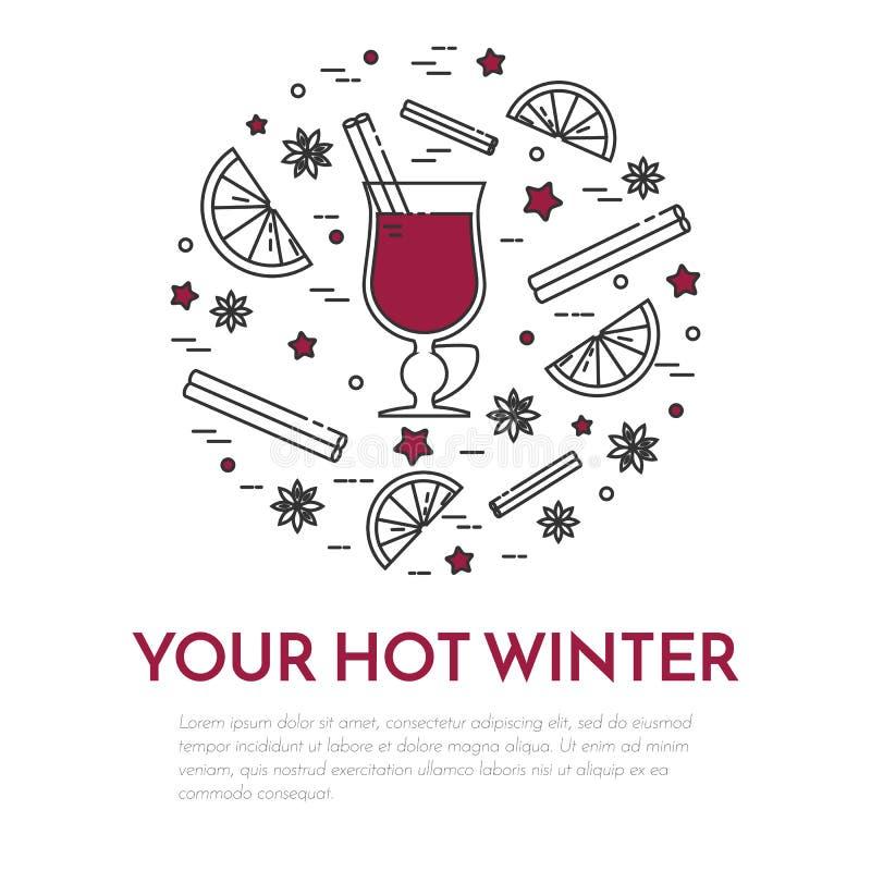 Stile lineare dell'insegna del vin brulé di vendite di inverno illustrazione vettoriale
