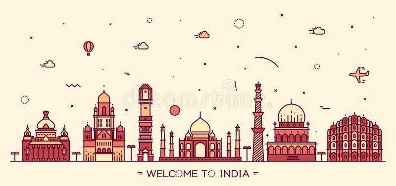 Stile lineare dell'orizzonte dell'illustrazione indiana di vettore illustrazione vettoriale