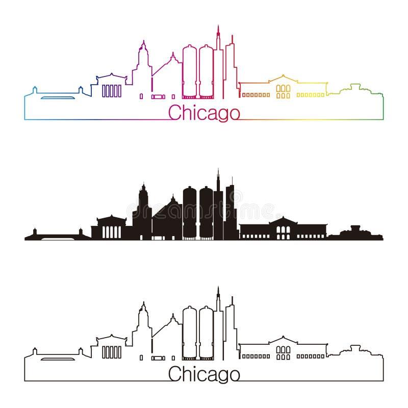 Stile lineare dell'orizzonte di Chicago con l'arcobaleno nel fil editabile di vettore illustrazione vettoriale