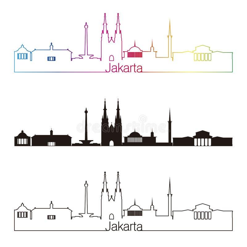 Stile lineare dell'orizzonte di Jakarta con l'arcobaleno royalty illustrazione gratis
