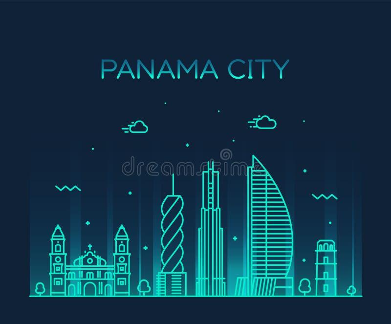 Stile lineare di vettore del Panama dell'orizzonte di Panama City illustrazione di stock