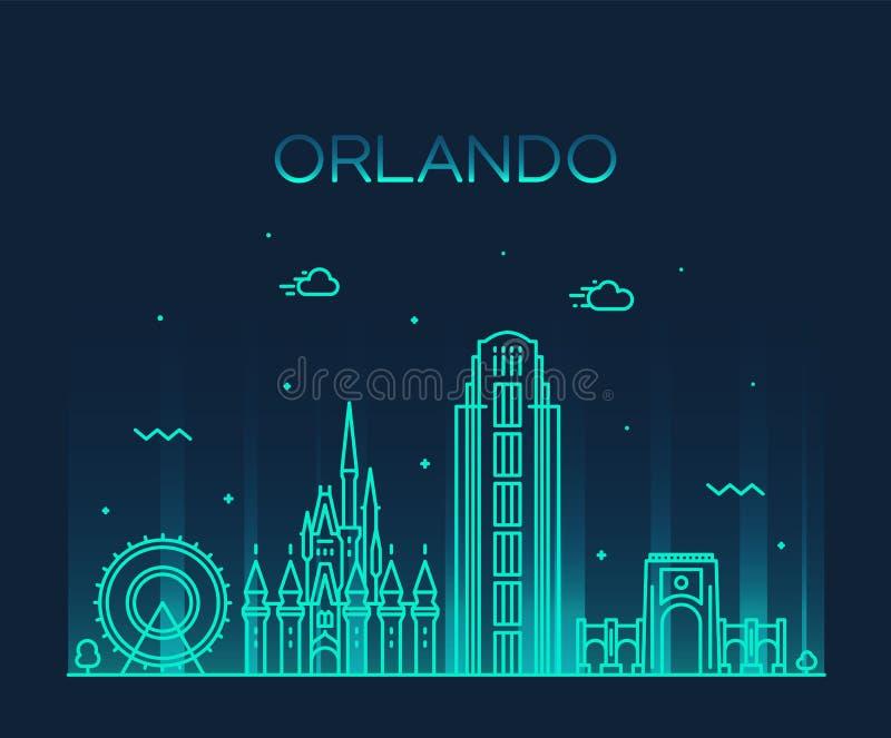 Stile lineare di vettore di Florida U.S.A. dell'orizzonte di Orlando royalty illustrazione gratis