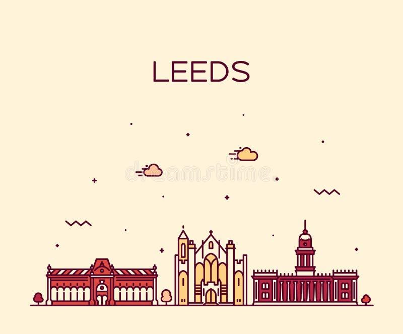 Stile lineare di vettore di Leeds West Yorkshire Inghilterra illustrazione vettoriale