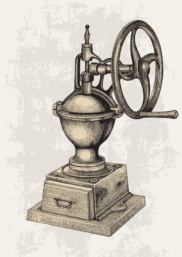 Stile manuale d'annata dell'incisione del disegno della mano del macinacaffè, Manua royalty illustrazione gratis
