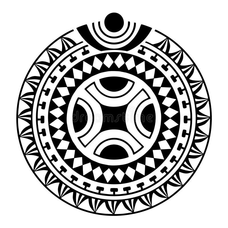 Stile maori dell'ornamento rotondo del tatuaggio illustrazione vettoriale