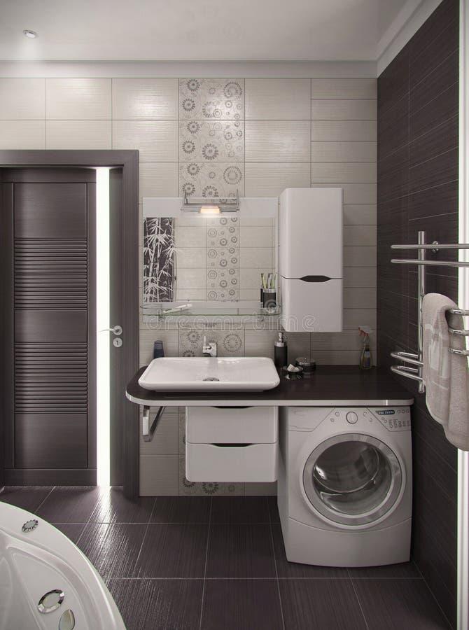 Stile minimalista interno del bagno, rappresentazione 3D fotografia stock