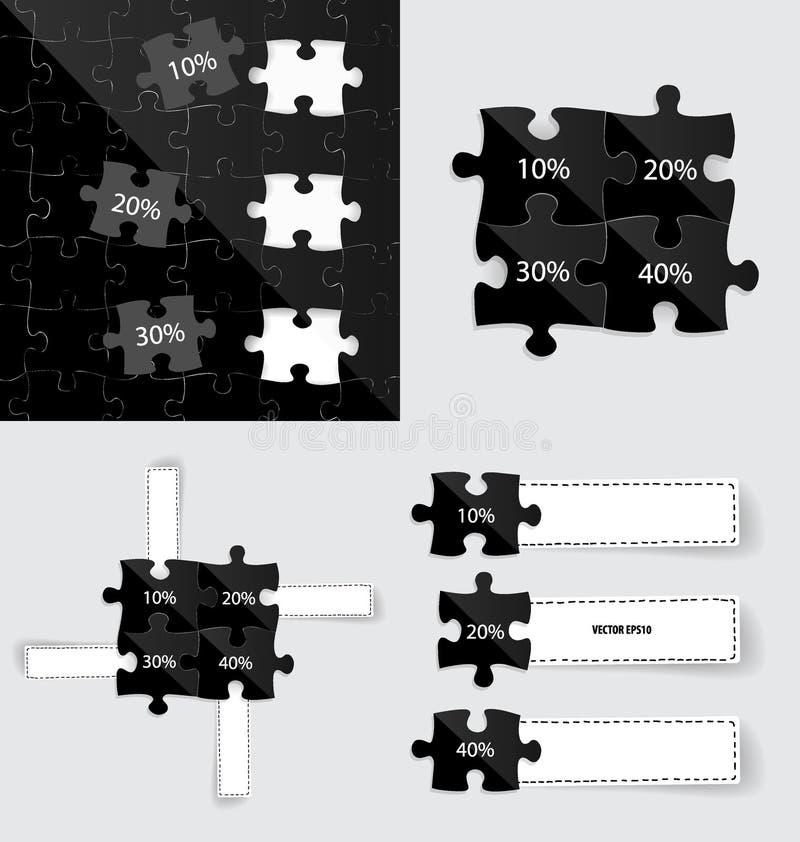 Stile moderno del modello di infographics Pezzi di puzzle di affari Vec royalty illustrazione gratis