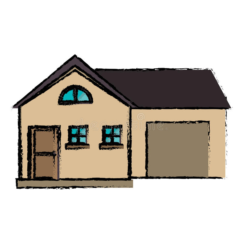 Stile moderno della casa del disegno con il garage for Planimetrie della casa senza garage