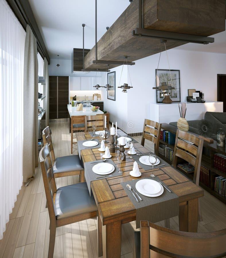 Stile moderno della sala da pranzo illustrazione di stock - Stanze da pranzo moderne ...