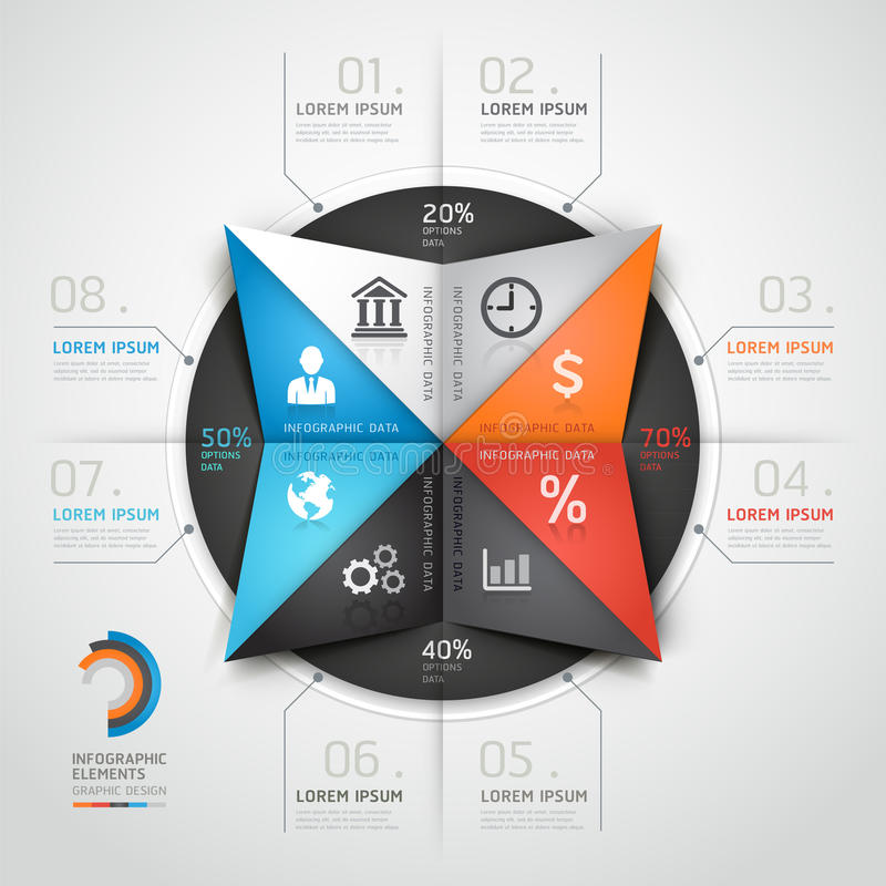 Stile moderno di origami di affari dei grafici di informazioni. royalty illustrazione gratis