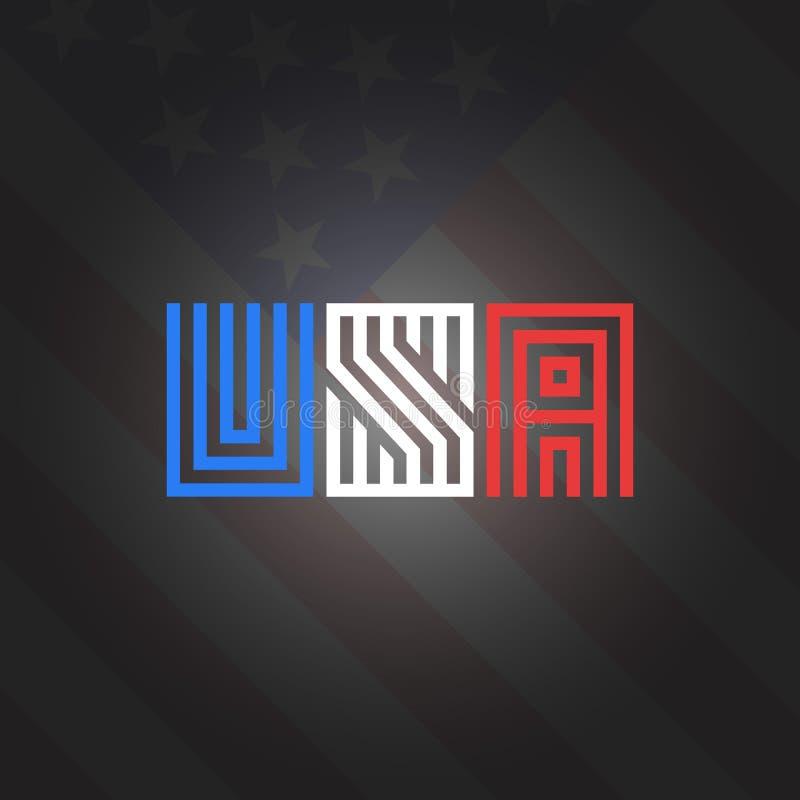 Stile nei precedenti nazionali della bandiera americana di colori, stampa patriottica del monogramma dell'iscrizione di U.S.A. di illustrazione vettoriale