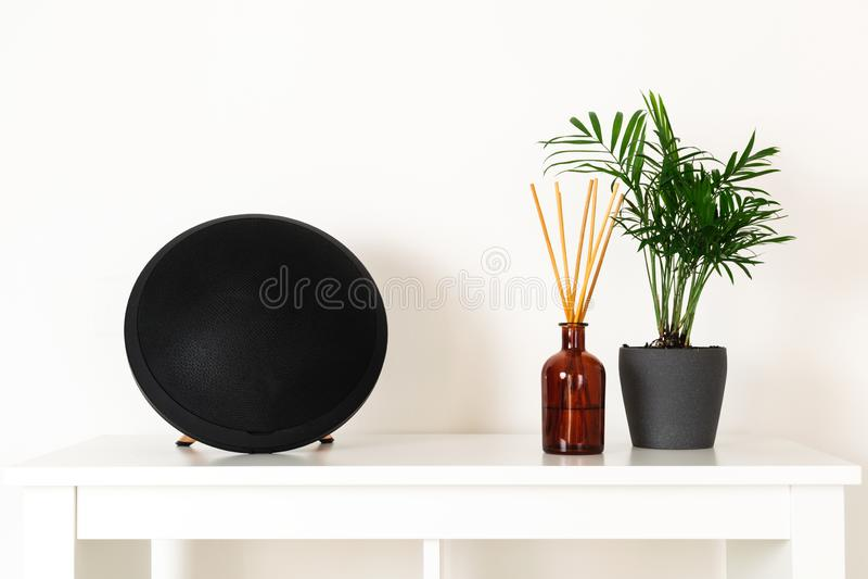 Stile nordico scandinavo del hygge, interno domestico - pianta sempreverde, altoparlante portatile, diffusore dell'aroma del prof fotografia stock