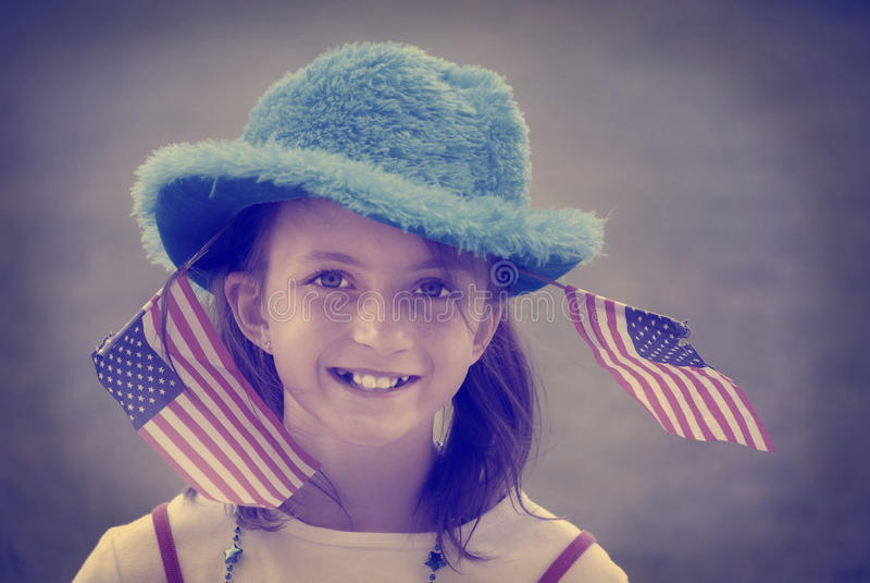 Stile patriottico di Instagram delle bandiere della ragazza fotografia stock