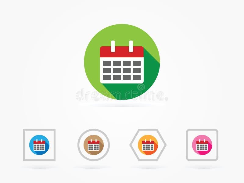 Stile piano del calendario dell'illustrazione di vettore variopinto illustrazione di stock