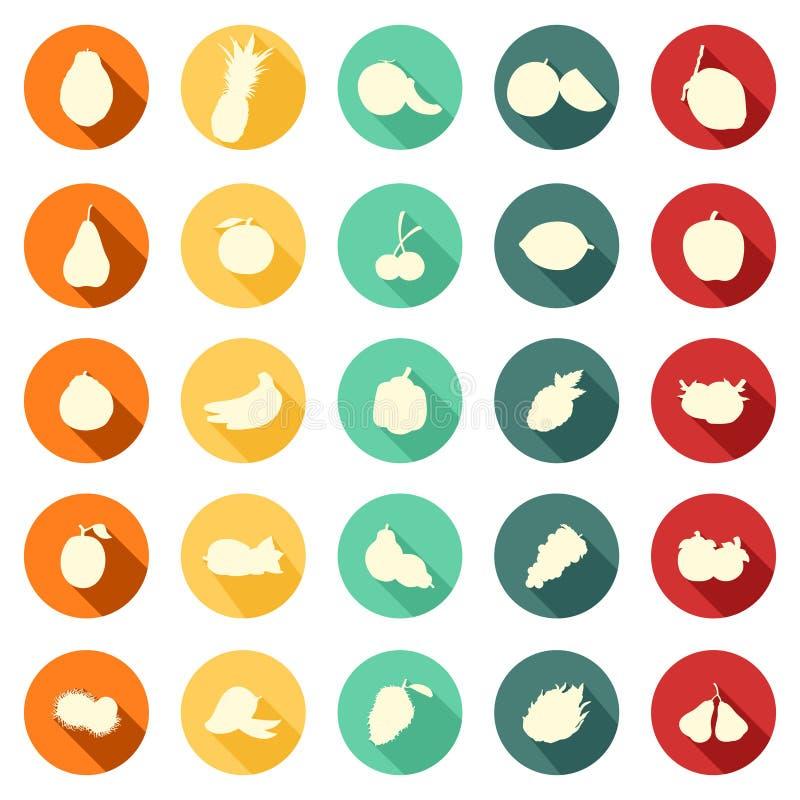 Stile piano del cerchio con l'ombreggiatura della frutta - raccolta completa dell'icona royalty illustrazione gratis
