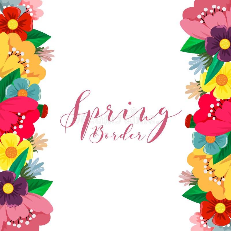 Stile piano del confine del fiore della primavera royalty illustrazione gratis