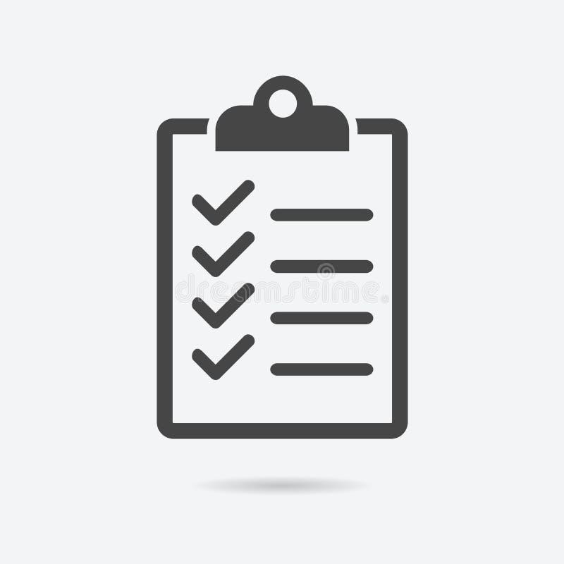 Stile piano dell'icona della lista di controllo isolato su fondo Segno della lista di controllo illustrazione vettoriale