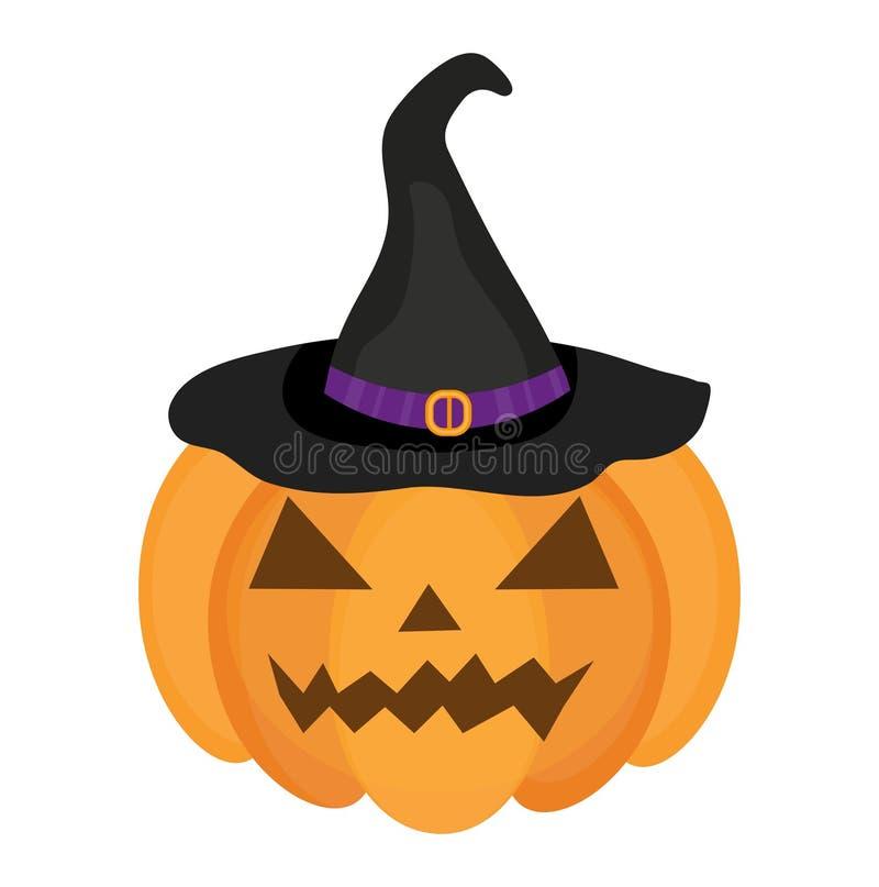 Stile piano dell'icona della zucca di Halloween Isolato su priorità bassa bianca Illustrazione di vettore illustrazione di stock