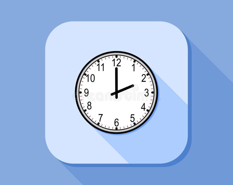 Stile piano dell'icona dell'orologio analogico royalty illustrazione gratis
