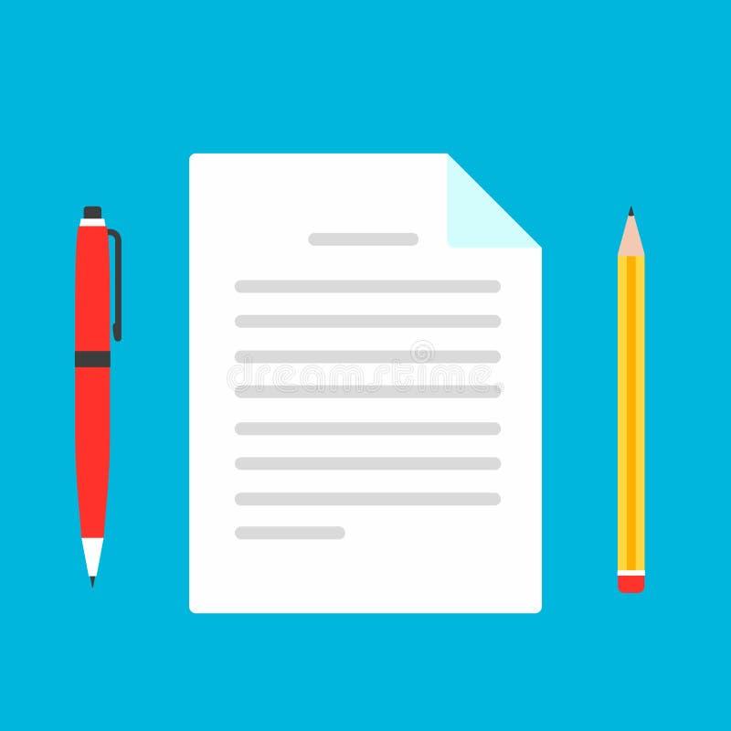 Stile piano di progettazione della pagina dello strato della carta della forma di reclamo con la penna e la matita per compilare  royalty illustrazione gratis