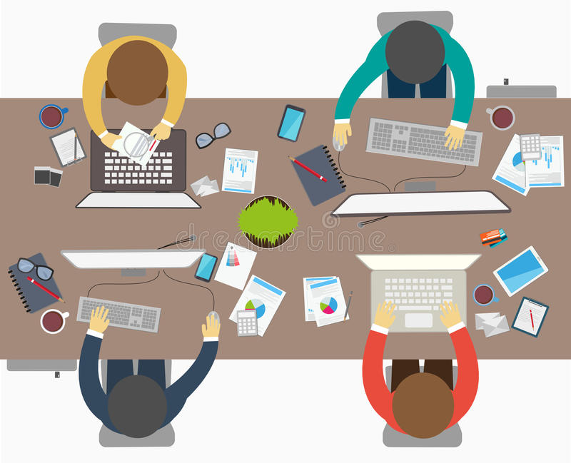 Stile piano di progettazione della riunione d'affari, impiegato di concetto illustrazione di stock