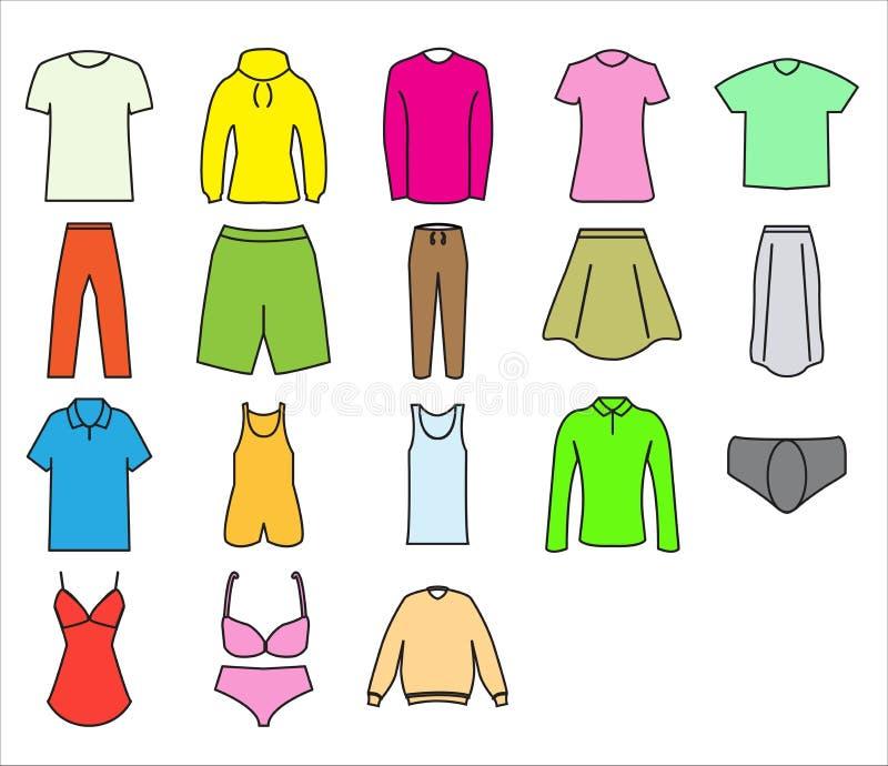 Stile piano di progettazione di insieme dell'icona del panno illustrazione di stock