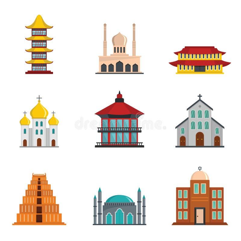 Stile piano fissato icone del castello della torre del tempio illustrazione di stock