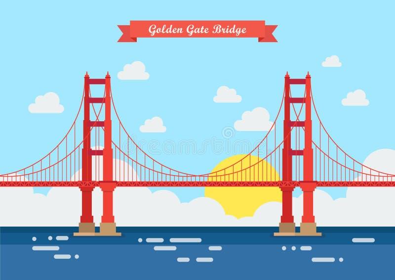 Stile piano golden gate bridge royalty illustrazione gratis