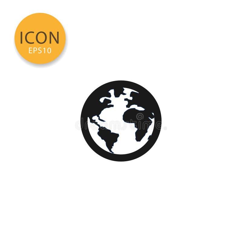 Stile piano isolato icona della mappa di mondo del globo illustrazione di stock