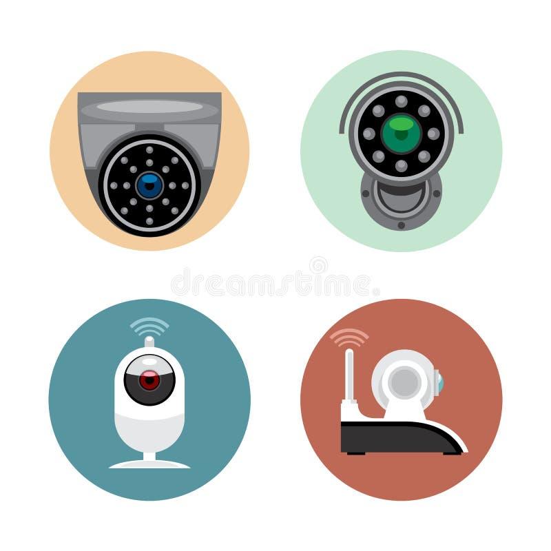 Stile piano stabilito della videocamera di sicurezza della registrazione di sorveglianza Dispositivi fissi del cand telecomandato illustrazione di stock