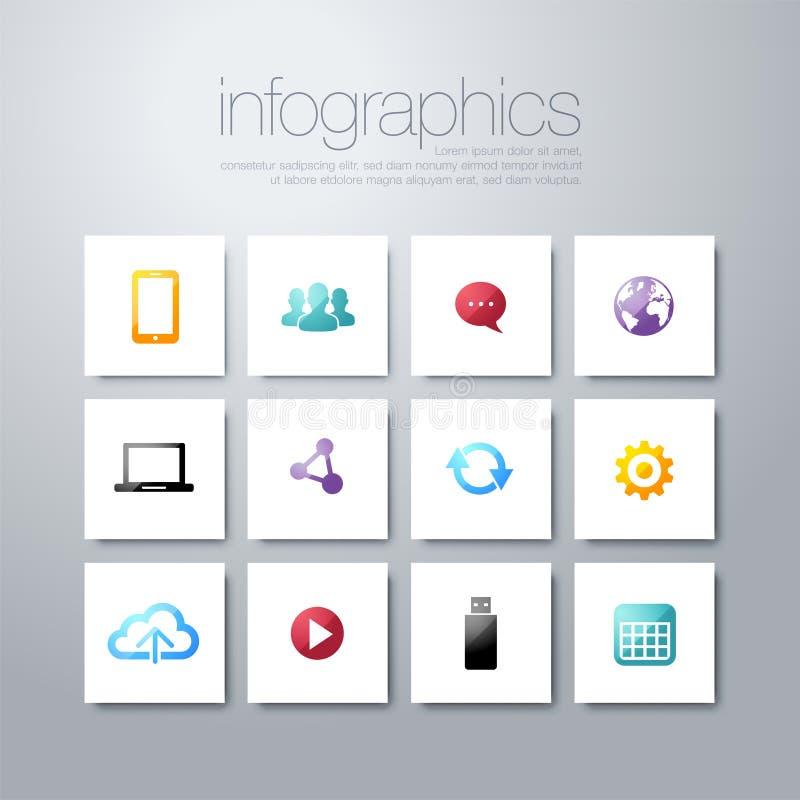 Stile piano variopinto di progettazione moderna delle icone di vettore, insieme dei simboli di servizio di seo, motore di ricerca illustrazione di stock
