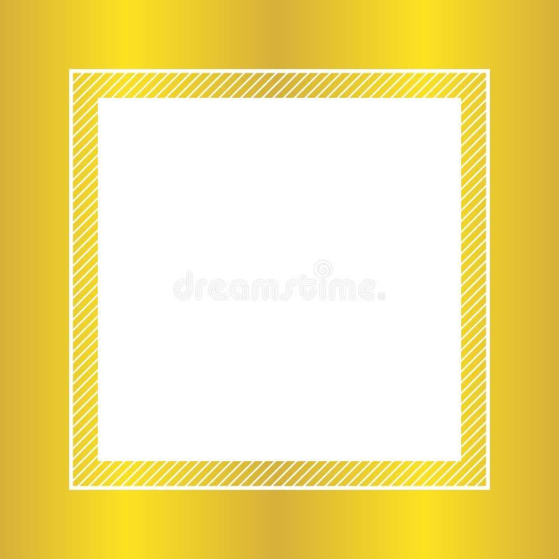 Stile posto piano e quadrato della struttura di colore alla moda dell'oro per lo spazio della copia, struttura vuota dorata per p illustrazione vettoriale