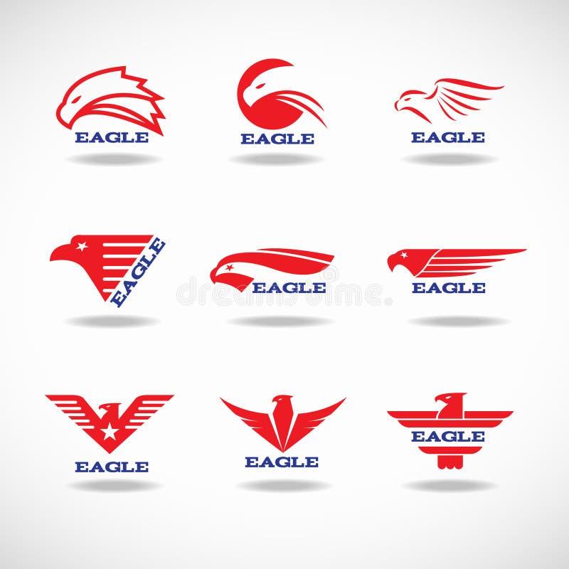 Stile rosso di progettazione 9 di logo di Eagle illustrazione di stock