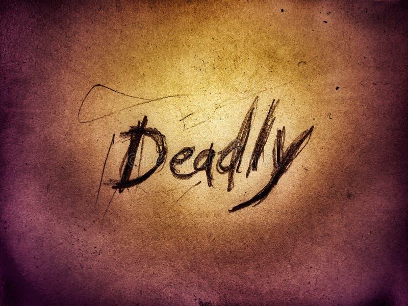 stile ruvido progetta la parola mortale scritta da una matita sulla pagina di colore giallo fotografia stock