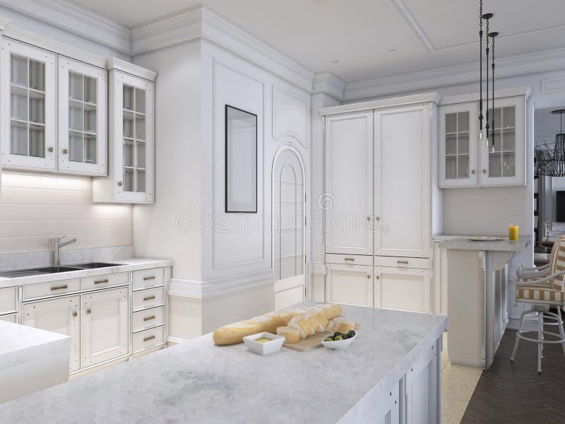 Stile scandinavo classico della cucina di lusso, pannello di legno bianco con tabletoop di marmo illustrazione di stock