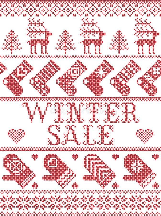 Stile scandinavo di vendita senza cuciture di inverno, ispirato dal Natale norvegese, modello festivo di inverno in punto trasver royalty illustrazione gratis