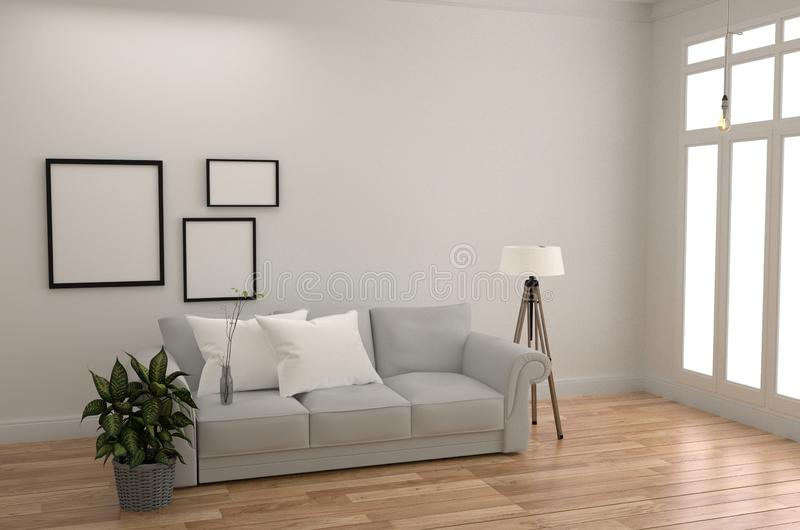 Stile scandinavo interno della stanza bianca - stanza moderna con il sofà ed il cuscino bianchi con la lampada della struttura e  royalty illustrazione gratis