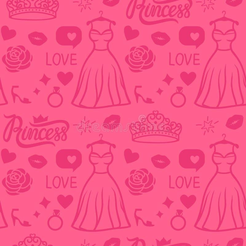 Stile senza cuciture del modello di principessa di rosa di vettore Vestito dal disegno della mano con il diadema, l'iscrizione, i illustrazione vettoriale