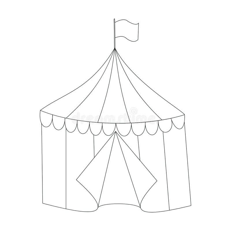 Stile a strisce di scarabocchio della tenda di circo di vettore illustrazione di stock