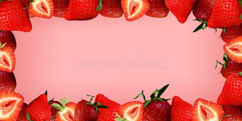 Stile succoso della fragola su un fondo rosa fotografia stock libera da diritti
