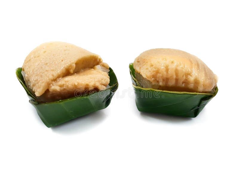 Stile tailandese del dessert, vista superiore di riso appiccicoso dolce con crema tailandese immagini stock libere da diritti
