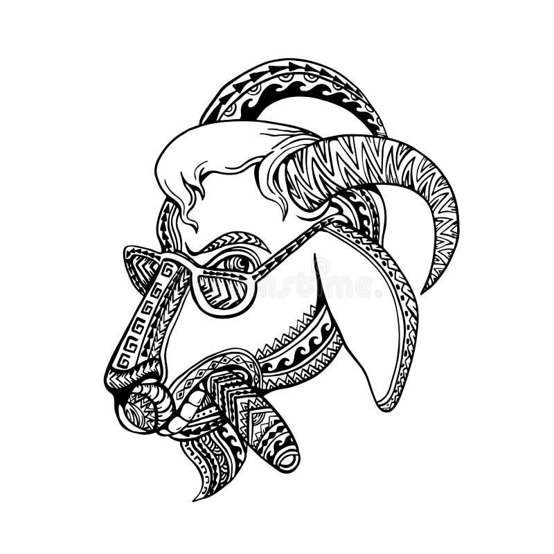 Stile tribale del tatuaggio del sigaro della capra illustrazione vettoriale