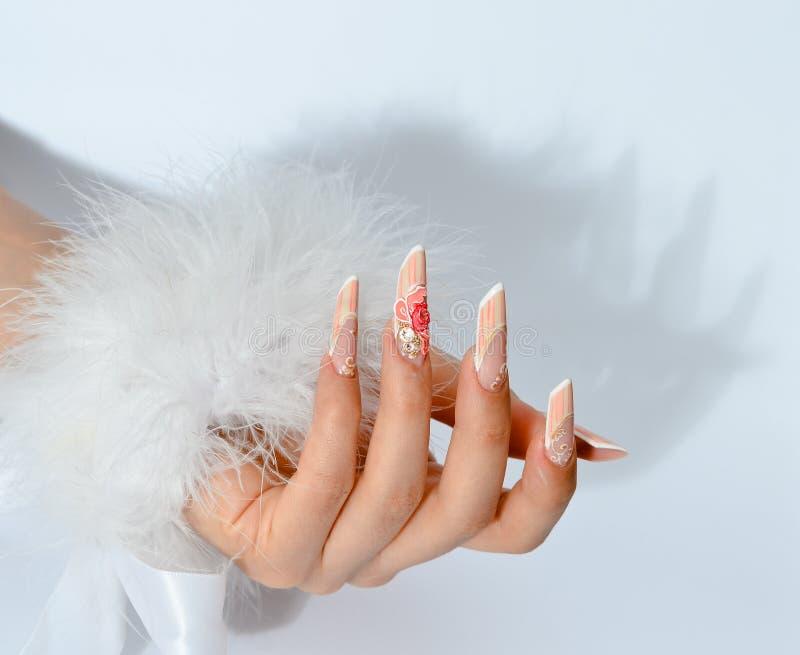 Stile uv delle unghie del manicure francese immagine stock