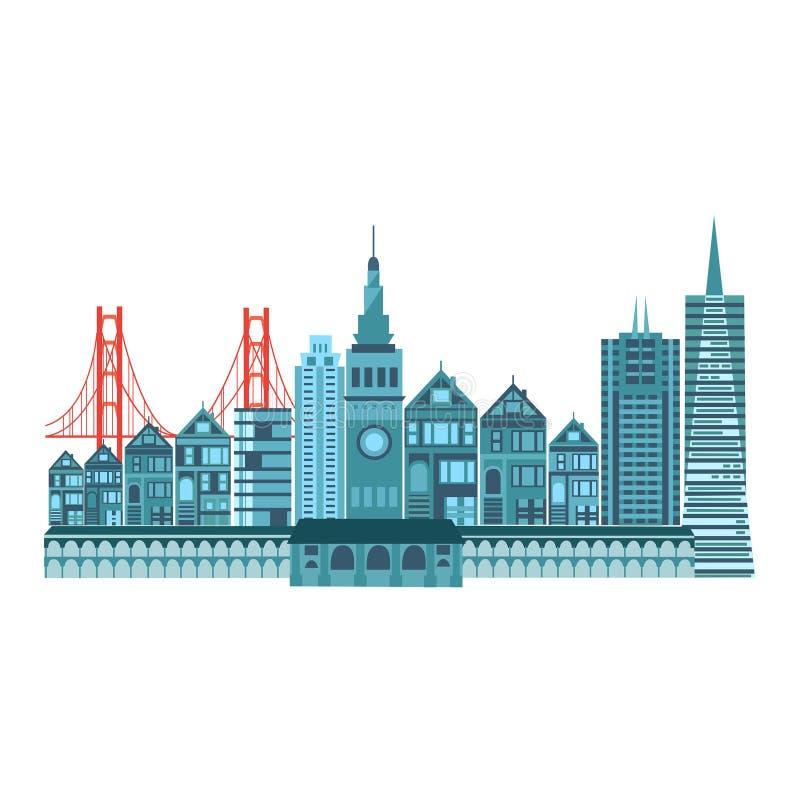 Stile variopinto delle icone di viaggio di San Francisco retro illustrazione di stock