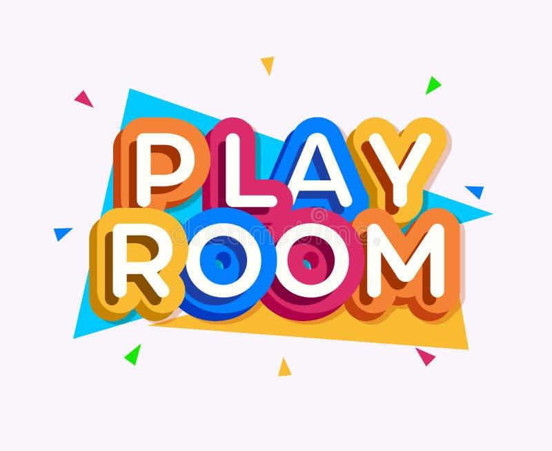 Stile variopinto di logo della stanza del gioco di vettore illustrazione vettoriale